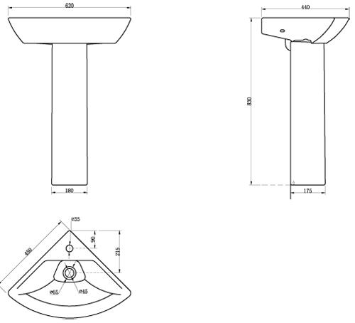 Additional image for Fair Bathroom Suite, Toilet, Wrapover Seat, Corner Basin & Pedestal.