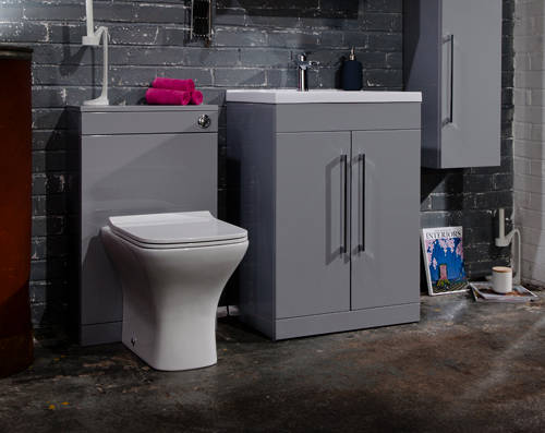 Additional image for 600mm Vanity Unit With White Basin (Grey).