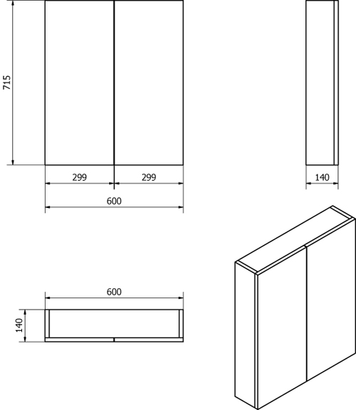 Additional image for 2 Door Mirror Bathroom Cabinet 600mm (Gloss White).
