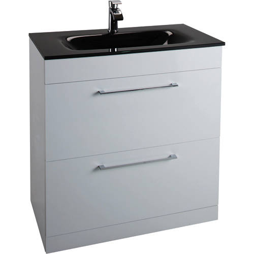 Additional image for 800mm Vanity Unit With Drawers & Black Basin (Gloss White).