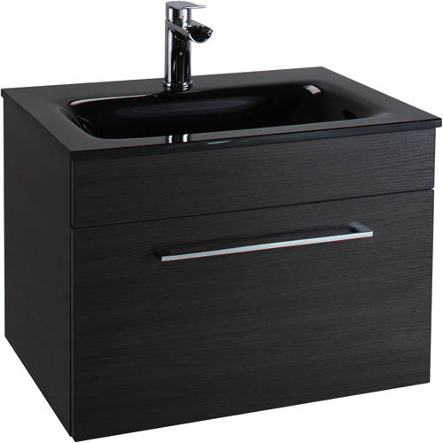 Additional image for 600mm Vanity Unit With Drawer & Black Glass Basin (Black).