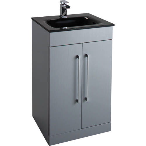 Additional image for 500mm Vanity Unit With Black Glass Basin (Grey).