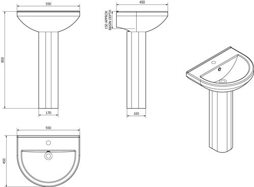 Additional image for Ivo Bathroom Suite With Toilet, Cistern, Seat, Basin & Full Pedestal.