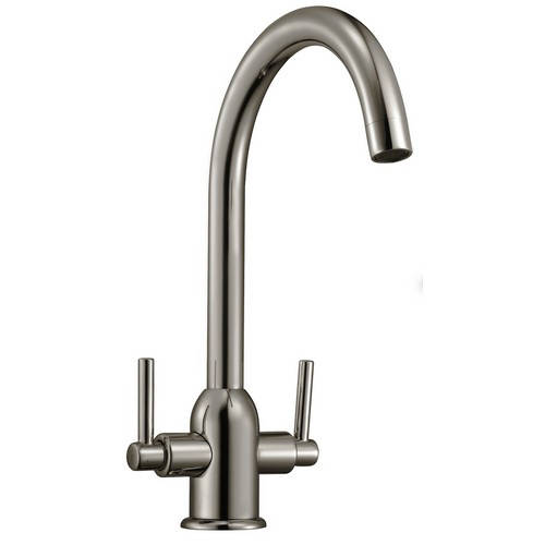 Additional image for Ruby Kitchen Tap With Twin Lever Controls (Brushed Steel).