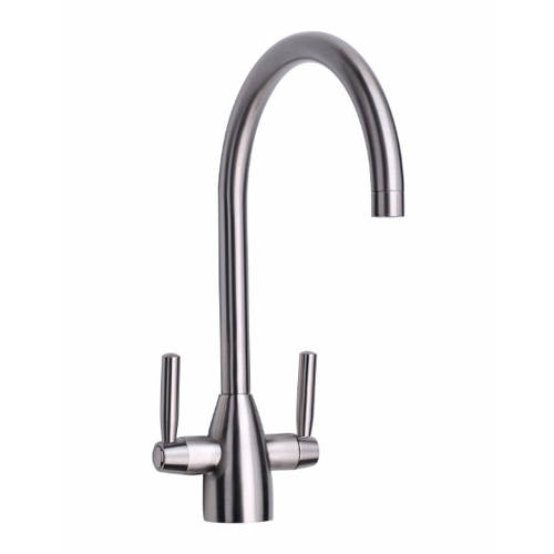 Additional image for Mia Kitchen Tap With Twin Lever Controls (Brushed Steel).