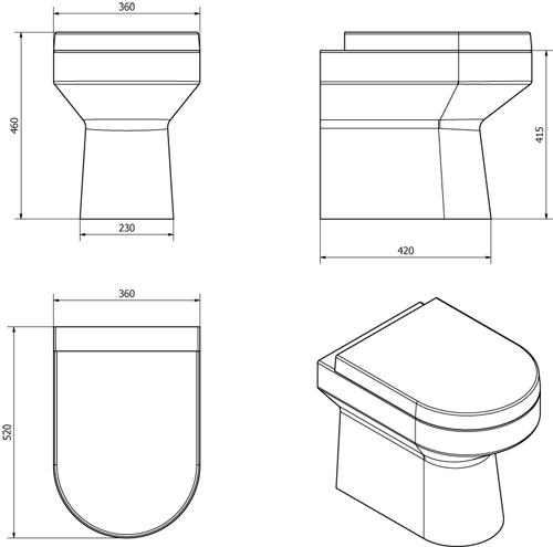 Additional image for Montego D Shaped Back To Wall Toilet Pan & Soft Close Seat.