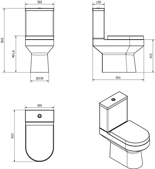 Additional image for Montego Bathroom Suite With Toilet, Seat, Basin & Full Pedestal.