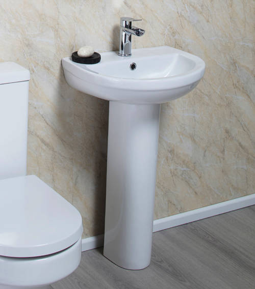 Additional image for Montego Bathroom Suite, BTW Toilet Pan, Seat, Basin & Pedestal.