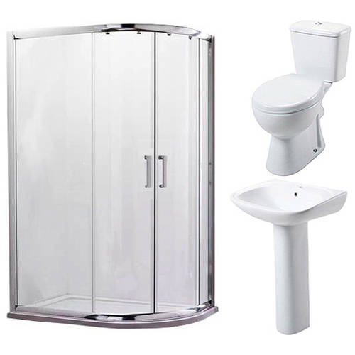 Additional image for En Suite Bathroom Pack With Offset Enclosure 1000x800mm (RH, 6mm).