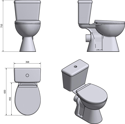 Additional image for En Suite Bathroom Pack With Offset Enclosure 1200x900mm (RH, 6mm).