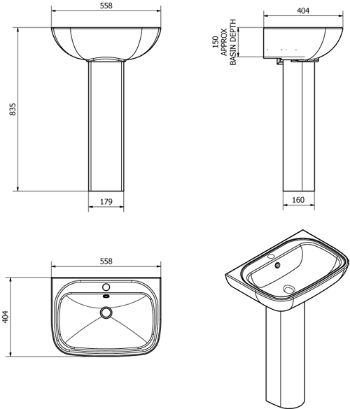Additional image for Unison Bathroom Suite With Toilet, Cistern, Seat, Basin & Full Pedestal.