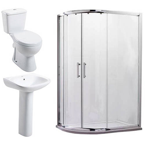 Additional image for En Suite Bathroom Pack With 1000x800mm Offset Enclosure (LH, 6mm).