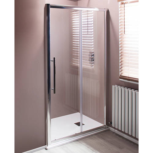 Additional image for 1000mm Sliding Shower Door With 8mm Thick Glass (Chrome).