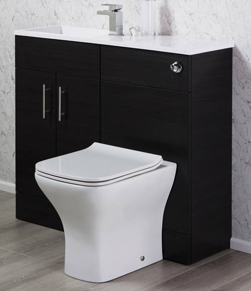 Additional image for Slimline Pack With Black Ash Vanity, BTW Unit & Basin (LH).