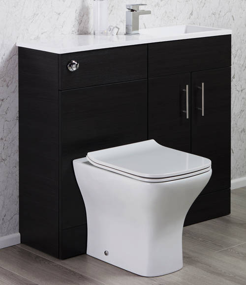 Additional image for Slimline Pack With Black Ash Vanity, BTW Unit & Basin (RH).