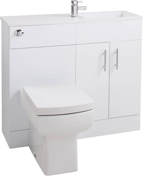 Additional image for Slimline Pack With White Vanity, BTW Unit & Basin (RH).