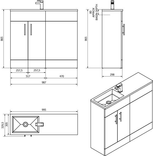 Additional image for Slimline Pack With White Vanity, BTW Unit & Basin (RH).