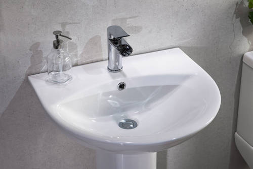 Additional image for Spek Bathroom Suite With Toilet, Slimline Seat, Basin & Full Pedestal.