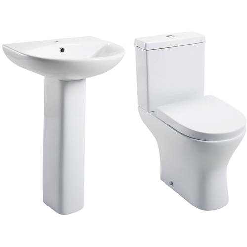 Additional image for Spek Bathroom Suite With Toilet, Wrapover Seat, Basin & Full Pedestal.