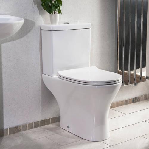Additional image for Spek Bathroom Suite, Toilet, Slimline Seat, Corner Basin & Pedestal.