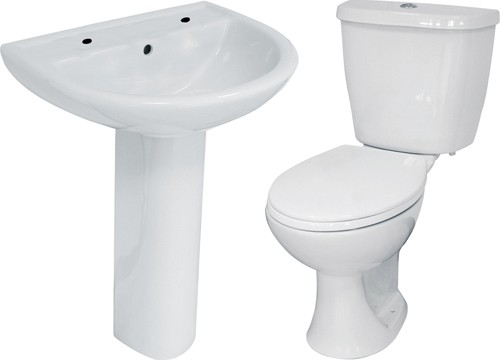 Additional image for 4 Piece Bathroom Suite With Toilet & Basin (2 Tap Hole).