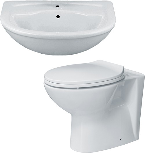 Additional image for 2 Piece Bathroom Suite With Back To Wall Toilet & Semi Recess Basin.