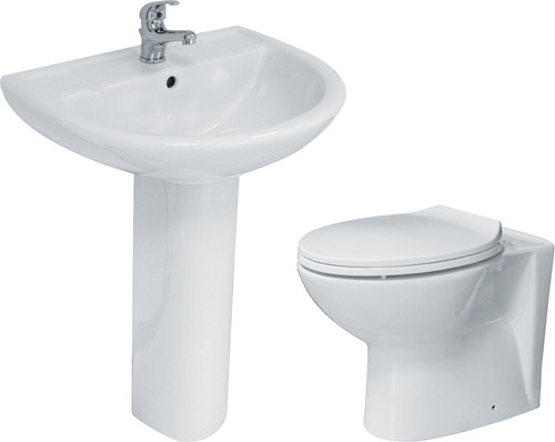 Additional image for 3 Piece Bathroom Suite With Back To Wall Toilet, Basin & Pedestal.
