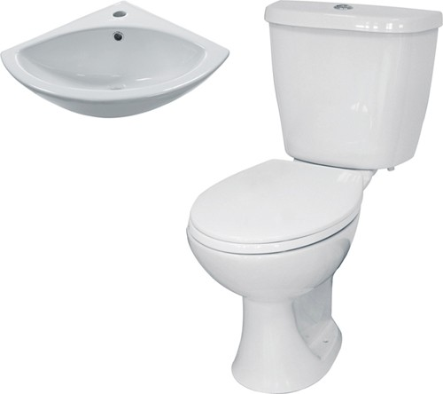 Additional image for 3 Piece Bathroom Suite With Toilet & Corner Basin.