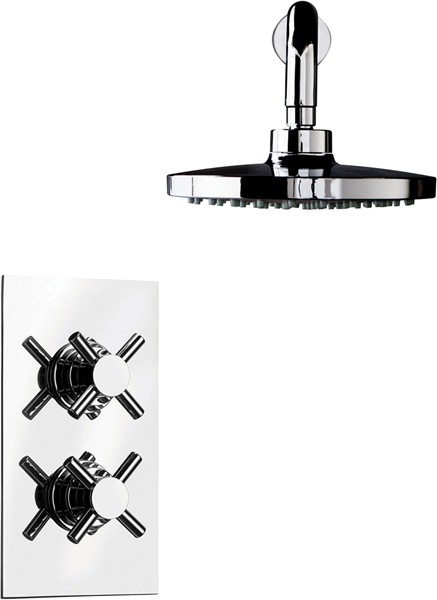 Additional image for Thermostatic Twin Shower With Head & Arm (Chrome).