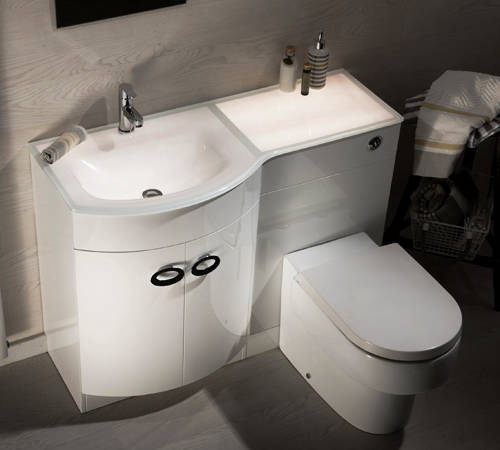 Additional image for Vanity Unit Pack With BTW Unit & White Glass Basin (LH, White).