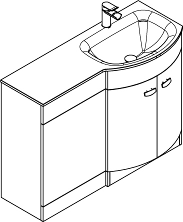 Additional image for Vanity Unit Pack With BTW Unit & White Glass Basin (RH, White).