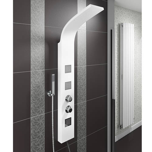 Additional image for Thermostatic Shower Panel With Jets (White).