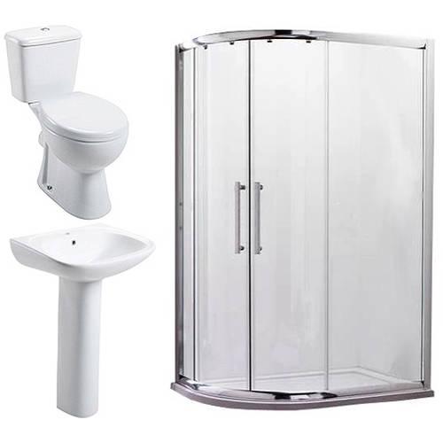 Additional image for En Suite Bathroom Pack With 900x760mm Offset Enclosure (LH, 8mm).