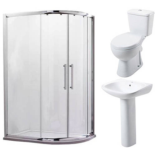 Additional image for En Suite Bathroom Pack With 900x760mm Offset Enclosure (RH, 8mm).