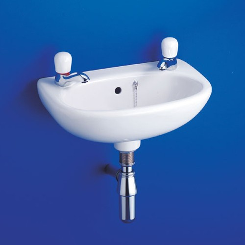 Additional image for 2 Tap Hole Wall Hung Basin With Hangers 455mm.