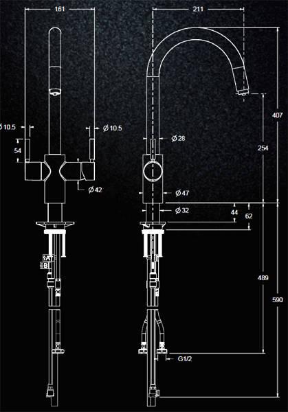 Additional image for 3N1 J Shape Steaming Hot Kitchen Tap (Brushed Steel).