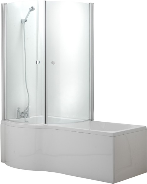 Additional image for Complete Shower Bath Suite With 2 Screens. (Left Hand). 1500x750mm.