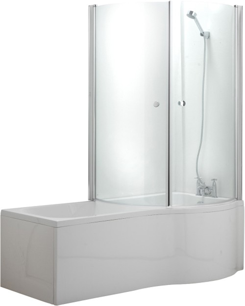 complete shower bath suite with 2 screens right hand