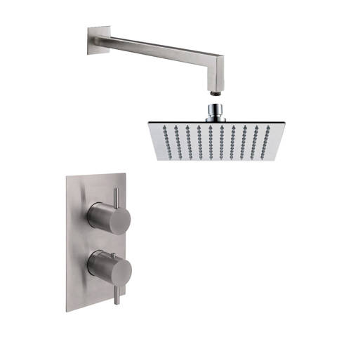 Additional image for Thermostatic Shower Valve, Wall Arm & Square Head (S Steel).