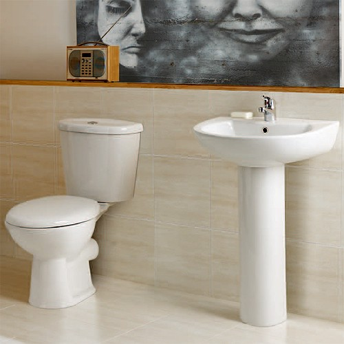 Additional image for Delta Bathroom Suite With 1700x800mm Freestanding Bath.