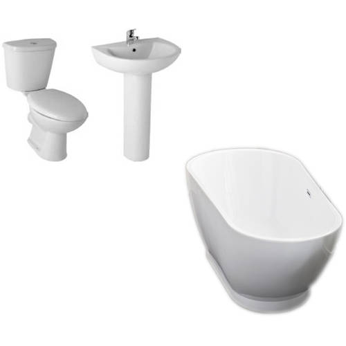 Additional image for Esposito Bathroom Suite With 1690x810mm Freestanding Bath.