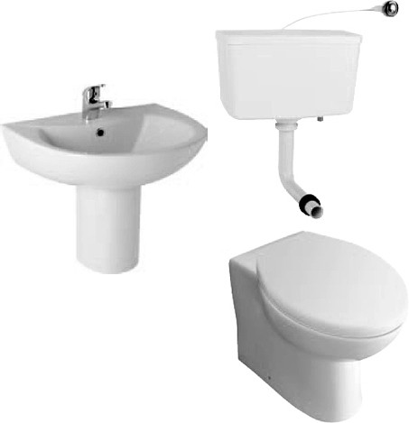 Additional image for G2 Suite With BTW Toilet Pan. Cistern, Seat, Basin And Semi Pedestal.