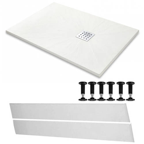Additional image for Rectangular Easy Plumb Shower Tray & Waste 1200x800 (White).