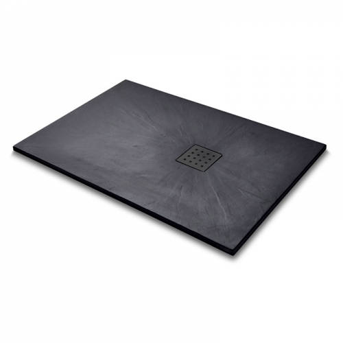 Additional image for Rectangular Shower Tray & Graphite Waste 1400x900 (Black).
