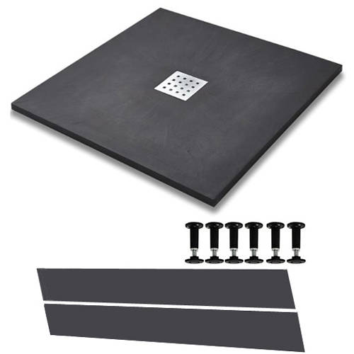 Additional image for Easy Plumb Square Shower Tray & Waste 800x800 (Graphite).