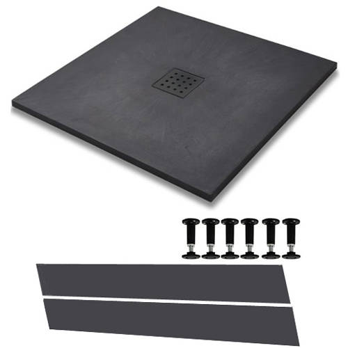Additional image for Easy Plumb Square Shower Tray & Waste 900x900 (Graphite).