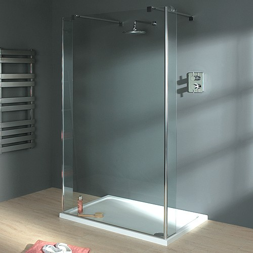 Additional image for Wet Room Glass Shower Screen, 1200x1950. 800mm Arms.