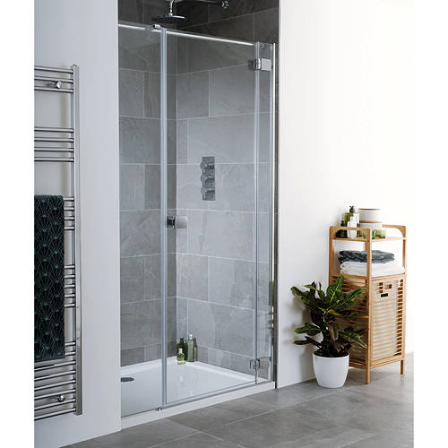 Additional image for Cayman Frameless Hinged Shower Door & Panel (1200x2000).
