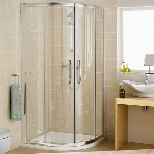 Additional image for 1000mm Quadrant Shower Enclosure & Tray (Silver).