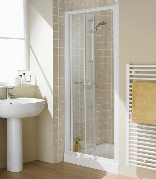 Additional image for 800mm Semi-Frameless Bi-Fold Shower Door (White).